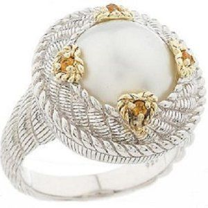 Judith Ripka Sterling & 14K Clad Mabe' Pearl Ring
